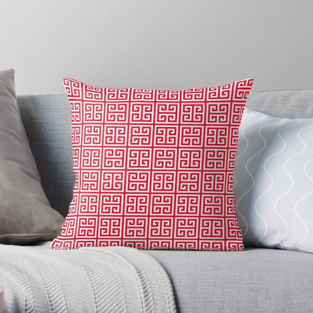 red Greek Key pattern - Greek fret design Throw Pillow