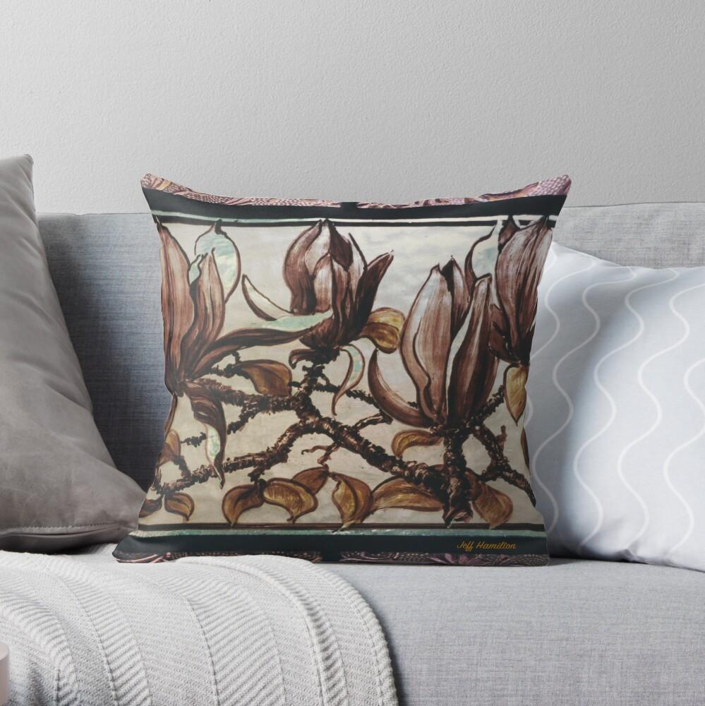 Painted Magnolias Throw Pillow