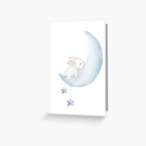 Sleeping bunny in blue moon Greeting Card