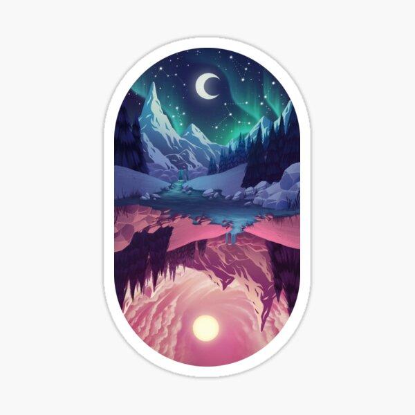 Upside down - night Sticker