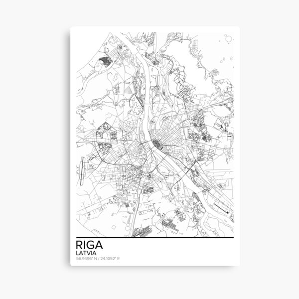 Riga map poster print wall art, Latvia gift printable, Home and Nursery, Modern map decor for office, Map Art, Map Gifts Canvas Print