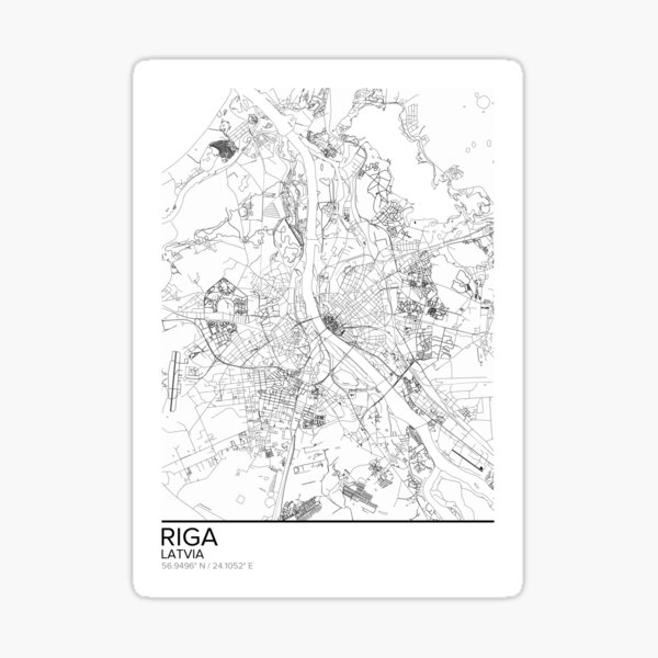 Riga map poster print wall art, Latvia gift printable, Home and Nursery, Modern map decor for office, Map Art, Map Gifts Sticker