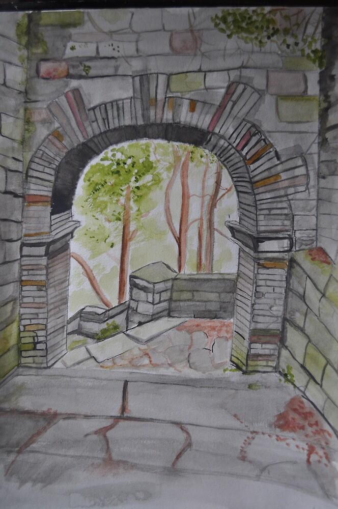 Watercolour of Rivington Pike Arch by Julie Lunan