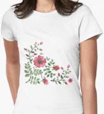 watercolor roses Women's Fitted T-Shirt