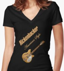 Rickenbacker Natural 12s American Style  Women's Fitted V-Neck T-Shirt