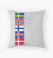 Nordic Cross Flags Throw Pillow