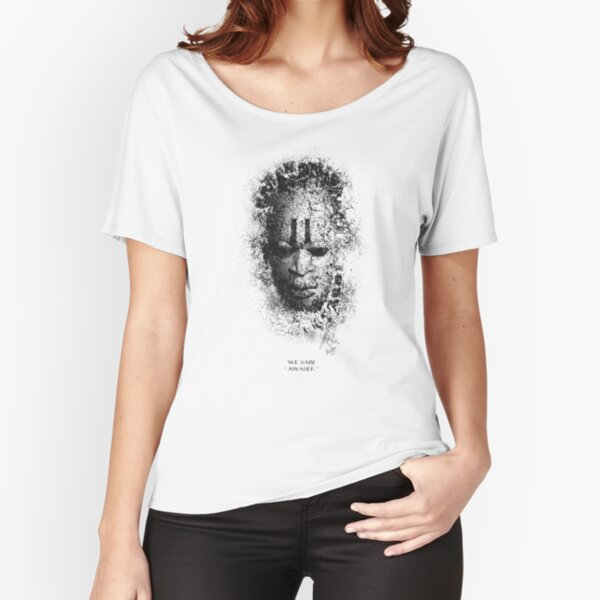 Mask on white background with pidgin text Relaxed Fit T-Shirt