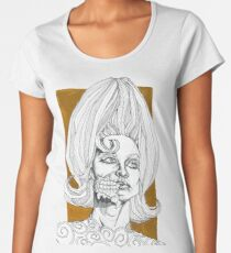 Geometric Black and Gold Martian Alien Pop Art Women's Premium T-Shirt