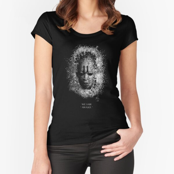Mask on dark background with text in pidgin Fitted Scoop T-Shirt