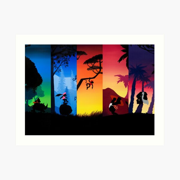 Pentaptych Silhouettes Art Print