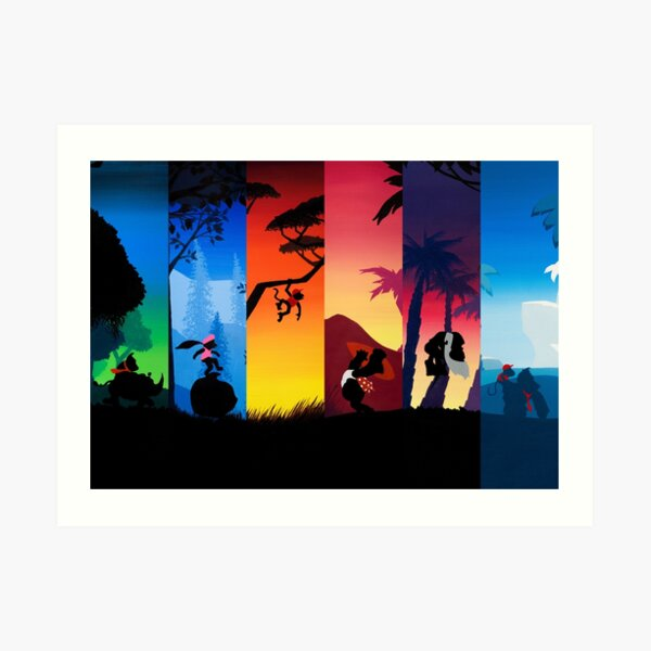 Hexaptych Silhouettes Art Print