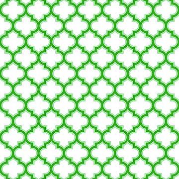 green Moroccan Lattice, Oriental Pattern, seamless Morocco Design  by ohaniki