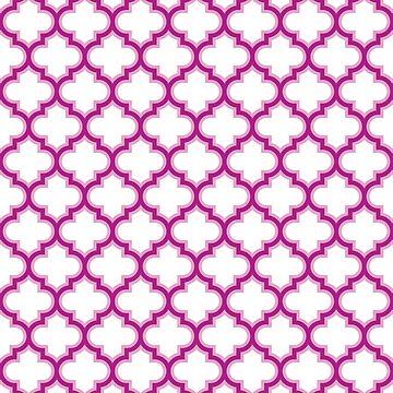 Pink,  Moroccan Lattice, Oriental Pattern, seamless Morocco Design  by ohaniki