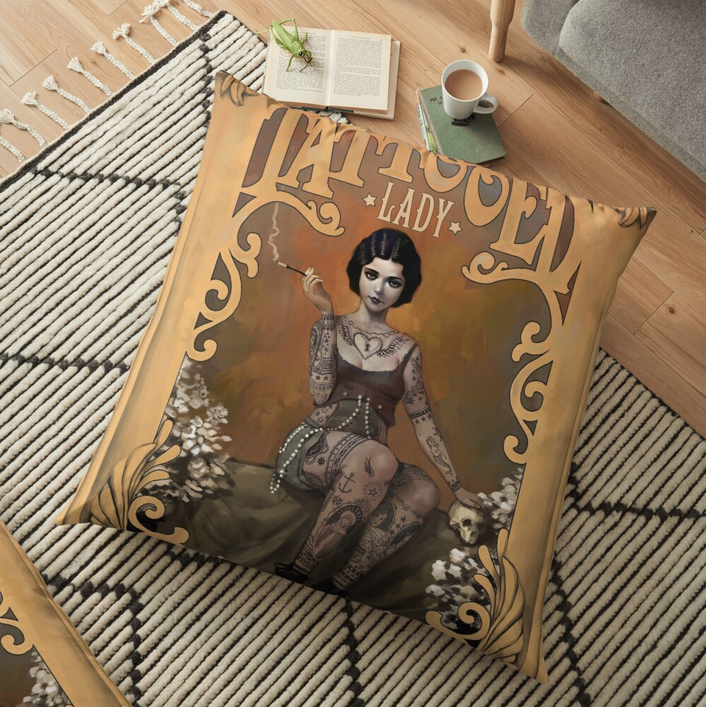 The Amazing Tattooed Lady Floor Pillow