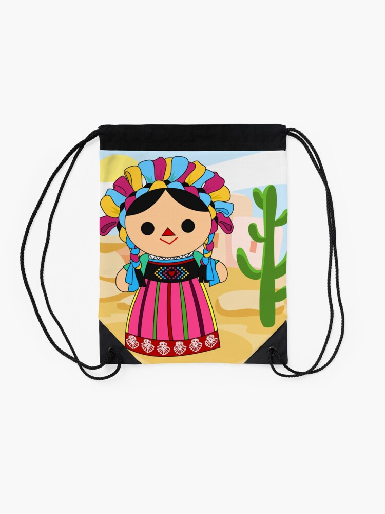 Alternate view of Maria 3 (Mexican Doll) Drawstring Bag