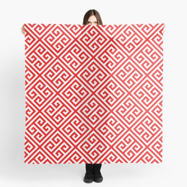 red, white pattern, Greek Key pattern -  Greek fret design  Scarf