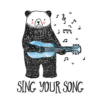 Sing Your Song - Cartoon Bear With Guitar by BunnyThePainter