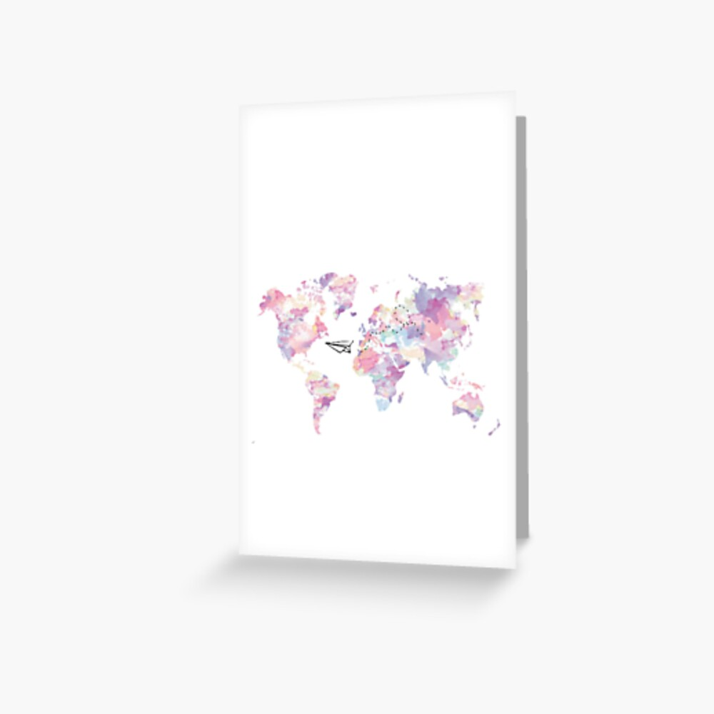 Floral Paper Airplance World Map Cute Aesthetic Tumblr Greeting