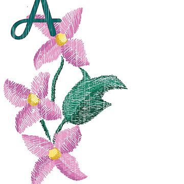 Monogrammed Gifts Pink Floral Initial A by Shasta9876