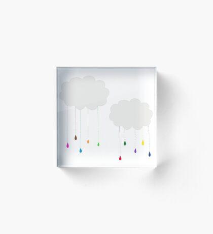 Rainbow Colored Rain and Clouds Acrylic Block