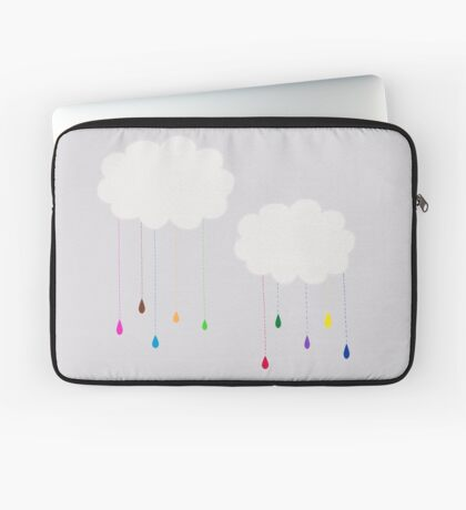 Rainbow Colored Rain and Clouds Laptop Sleeve