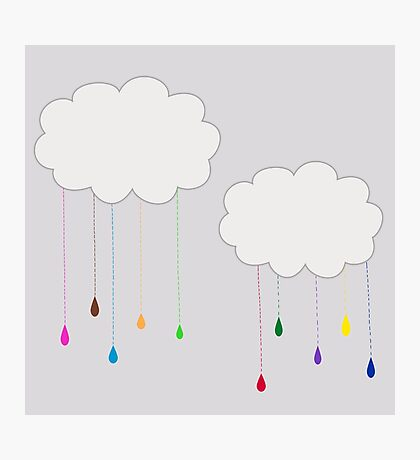 Rainbow Colored Rain and Clouds Photographic Print
