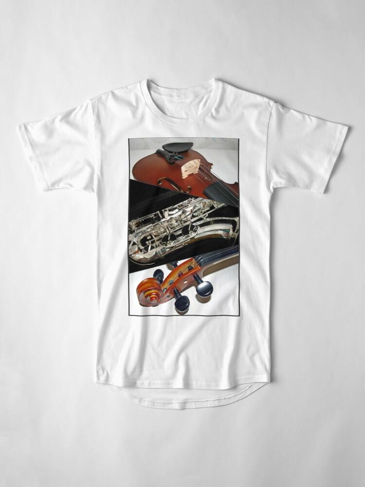 Alternative Ansicht von Violin and Saxophone Collage Longshirt