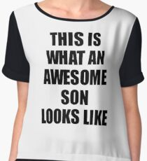 Son Funny Gift Idea This Is What an Awesome Son Looks Like Chiffon Top