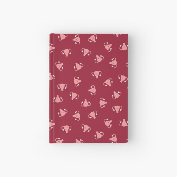 Crazy Happy Uterus in Red, small repeat Hardcover Journal