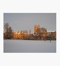 Christ Church playing fields in the snow Photographic Print