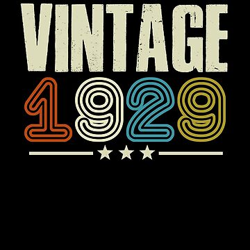Vintage Est 1929 T-Shirt 90 Years Old 90th Birthday Gifts by Kimcf