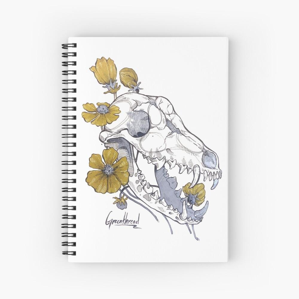 MorbidiTea - Greenthread with Coyote Skull Spiral Notebook
