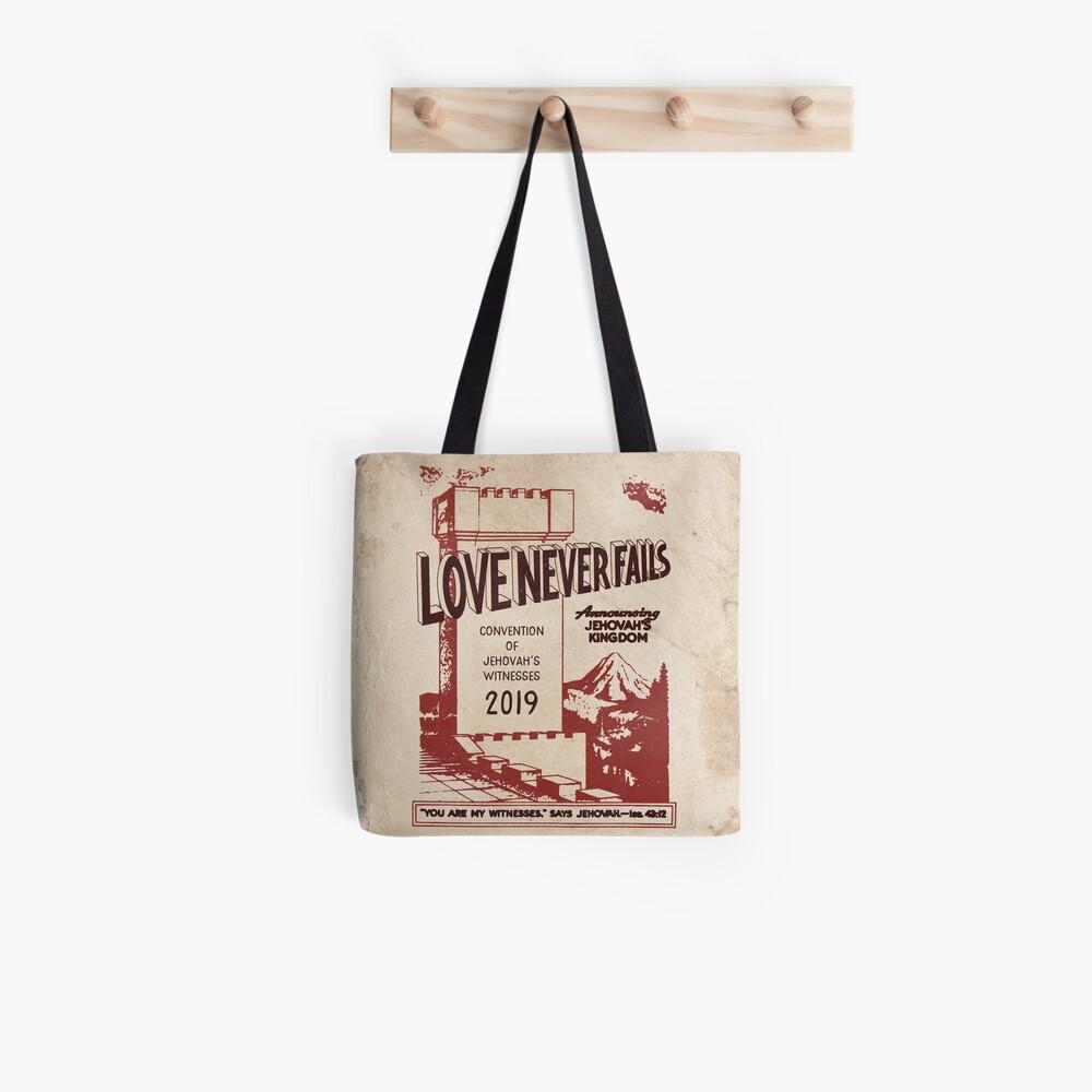 LOVE NEVER FAILS (VINTAGE WT) Tote Bag