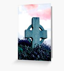 Celtic Cross on Pink Sky Greeting Card