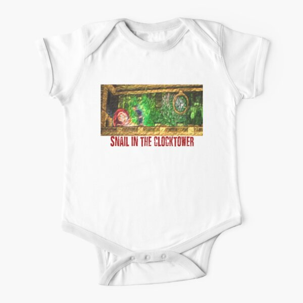 Snail in the Clocktower Short Sleeve Baby One-Piece