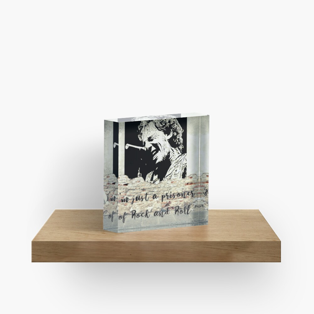 Banksy, Springsteen Tribute. Just A Prisoner Of Rock and Roll. WallsOfFameAust Acrylic Block