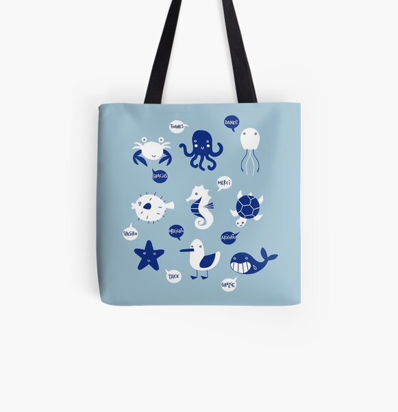 Thank You Sea Animals All Over Print Tote Bag