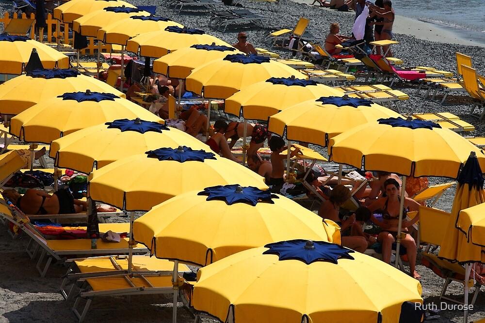 Beach Umbrellas - Monterrosso, Cinque Terre, Italy by Ruth Durose