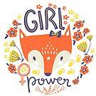 "Slogan ""girl power"" with cute fox by Dinkoobraz"