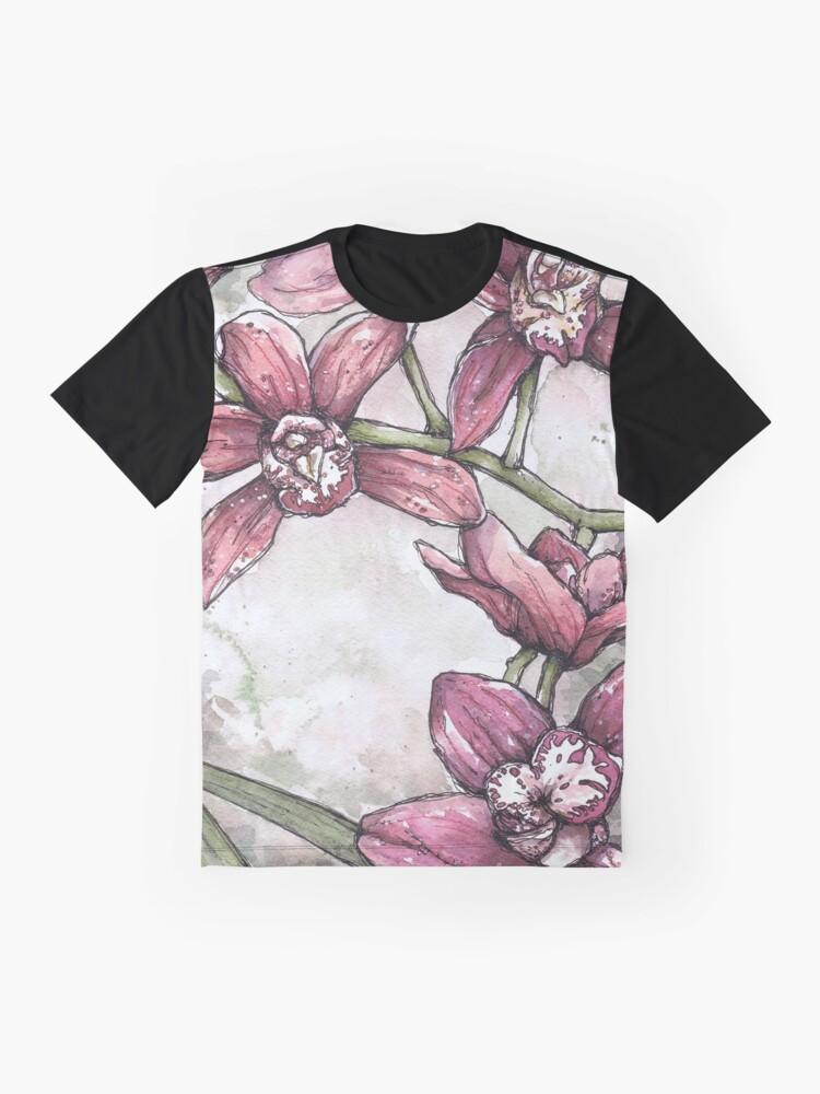 Alternative Ansicht von Orchideen - Aquarell und Tintengrafik Grafik T-Shirt