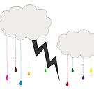 Rainbow Colored Rain, Clouds and Thunder by DesignsByDebQ