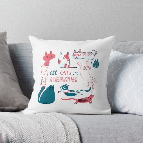All Cats are Ameowzing Throw Pillow