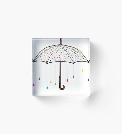 Colorful Rain Umbrella Acrylic Block