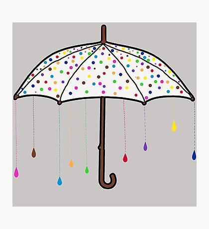 Colorful Rain Umbrella Photographic Print