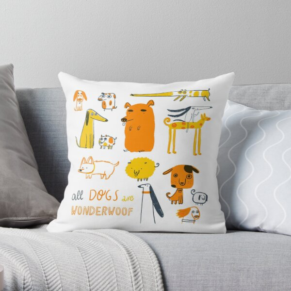 All Dogs are Wonderwoof Throw Pillow