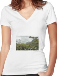 Cradle Mountain from lake Lilla, Tasmania, Australia. Women's Fitted V-Neck T-Shirt