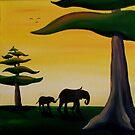 Elephant Silhouette by Sarah  Mac Illustration