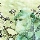 Monkey wild animals in jungle mixed media outside art analog photo drawing painting  by edwardolive