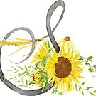 letter S calligraphy sunflower watercolor by ColorandColor
