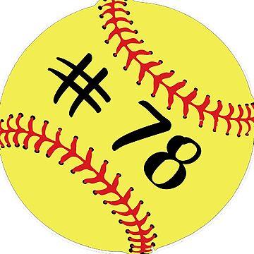 Softball Player Jersey No 78 Back Number #78 Ball Sport Sticker Gift by theshirtinator
